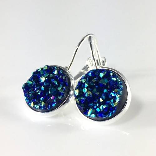 Ocean Blue faux druzy silver leverback earrings