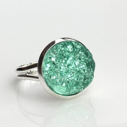 Crystal Mint faux druzy silver ring