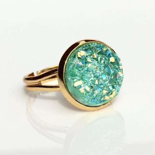 Iridescent Mint faux druzy gold ring