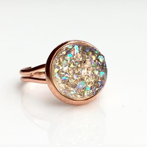 Champagne Crystal faux druzy rose gold ring