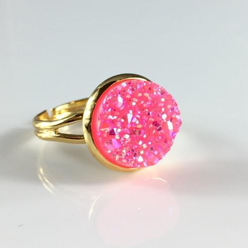 Bright Pink faux druzy gold ring