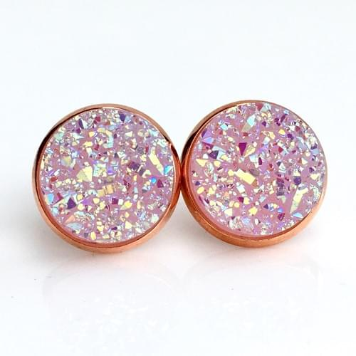 Light mauve faux druzy rose gold earrings