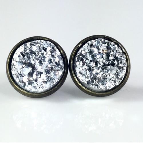 Metallic silver faux druzy bronze earrings