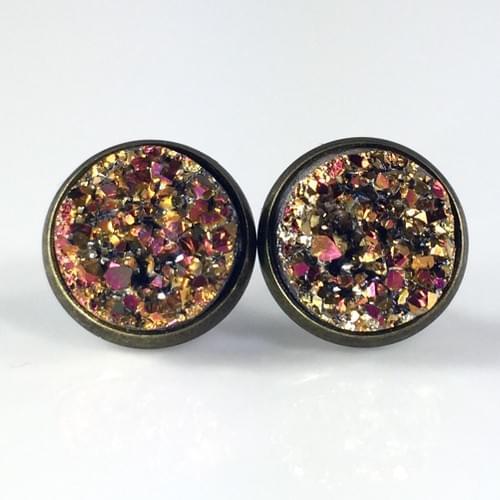 Magenta Copper faux druzy bronze earrings