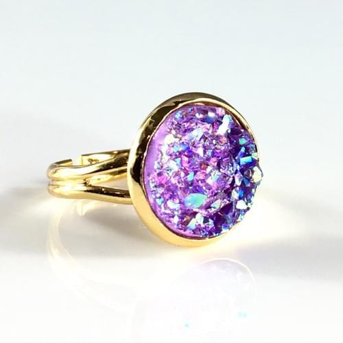 Lavender faux druzy gold ring
