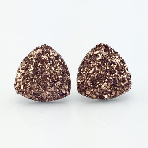 Rose Gold faux druzy triangle post earrings