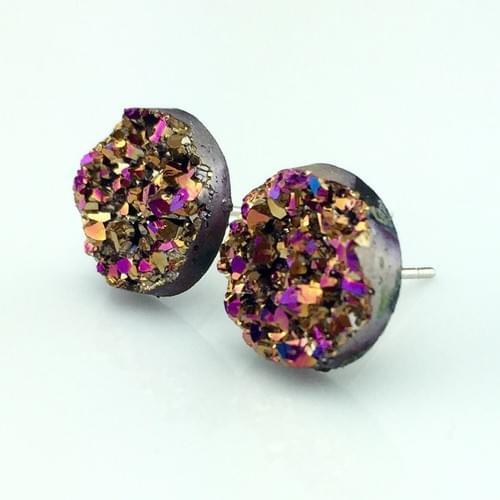 Copper Magenta faux druzy post earrings