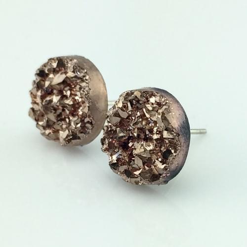 Rose Gold faux druzy post earrings