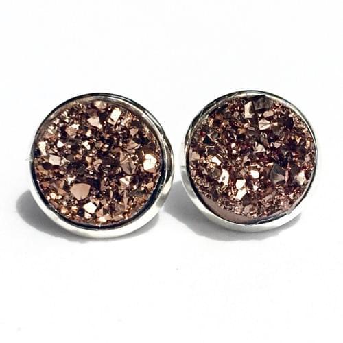 Rose Gold faux druzy silver earrings