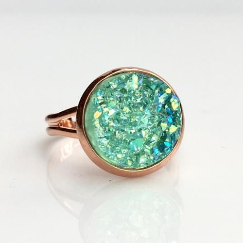 Iridescent Mint faux druzy rose gold ring
