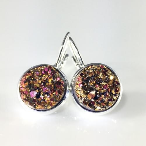 Copper Magenta faux druzy silver leverback earrings