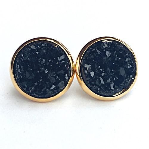 Black faux druzy gold earrings