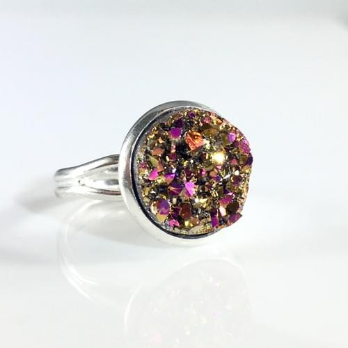 Copper Magenta faux druzy silver ring