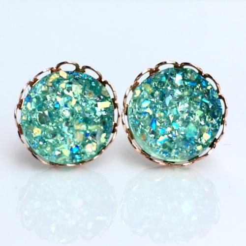 iridescent mint faux druzy rose gold lace earrings