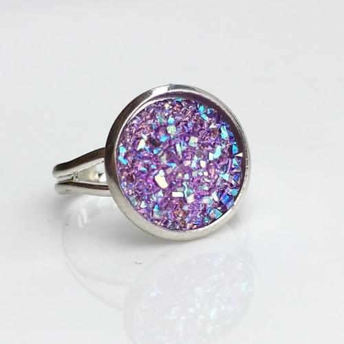 Flat sparkly lavender silver ring