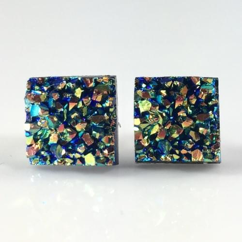 Small Green Rainbow faux druzy square earrings