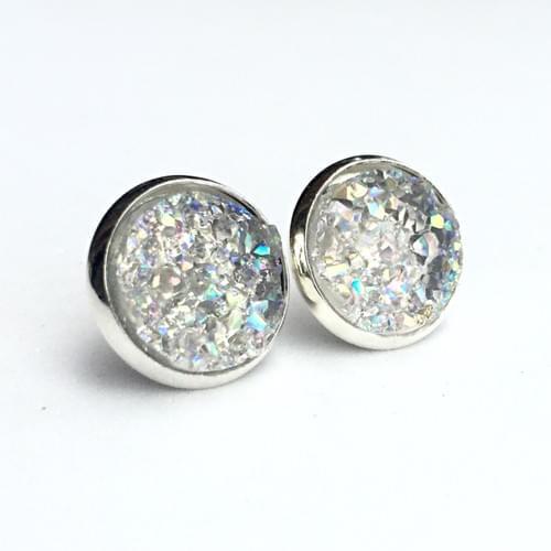 Smoky crystal faux druzy silver earrings
