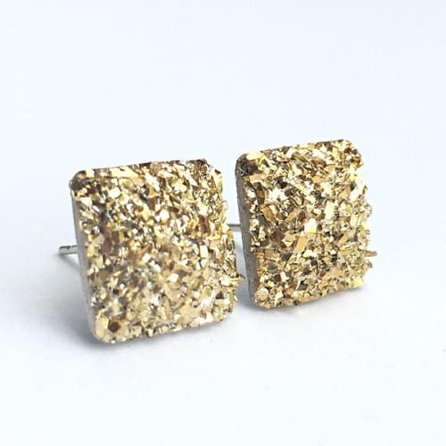 Flat rocky gold faux druzy square earrings