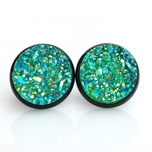 Iridescent Green faux druzy black earrings