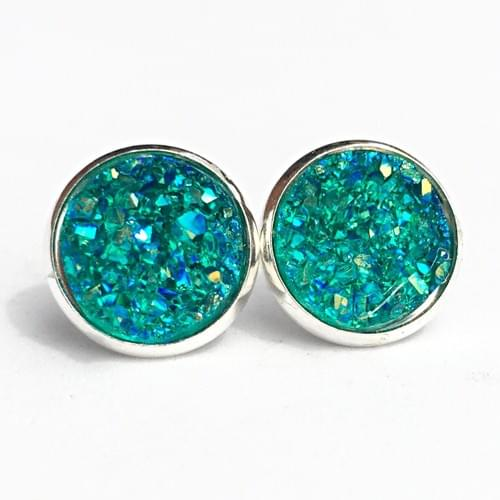 Teal faux druzy crystal earrings