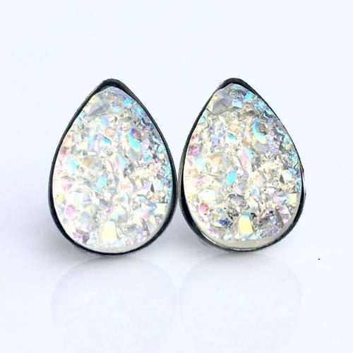 Crystal faux druzy teardrop earrings