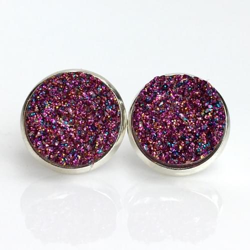 Magenta glitter faux titanium druzy silver earrings