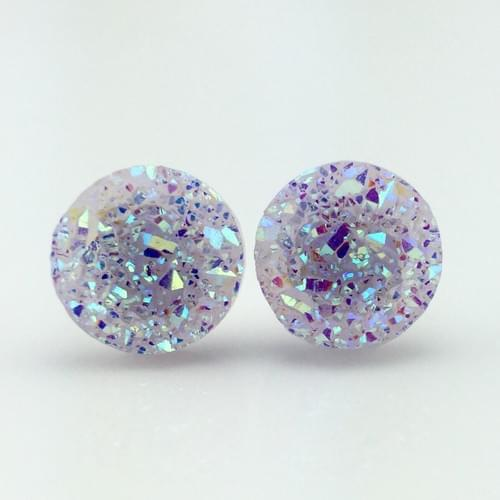Light Mauve faux druzy post earrings