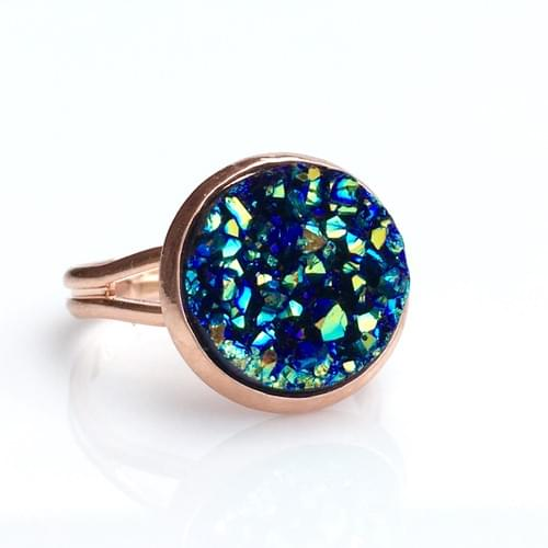 Ocean Blue faux druzy rose gold ring