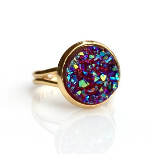 Iridescent Ruby faux druzy gold ring