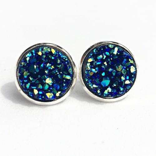 Ocean blue faux druzy silver earrings