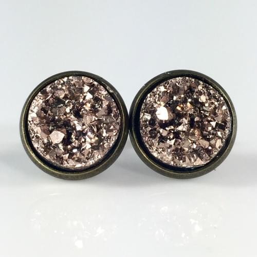 Rose gold faux druzy bronze earrings
