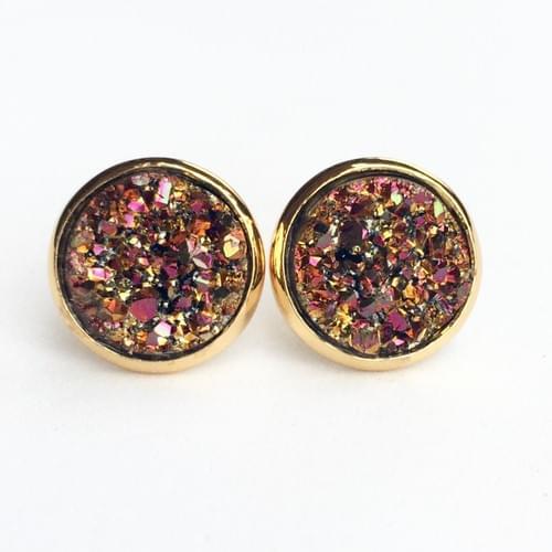 Magenta copper faux druzy gold earrings
