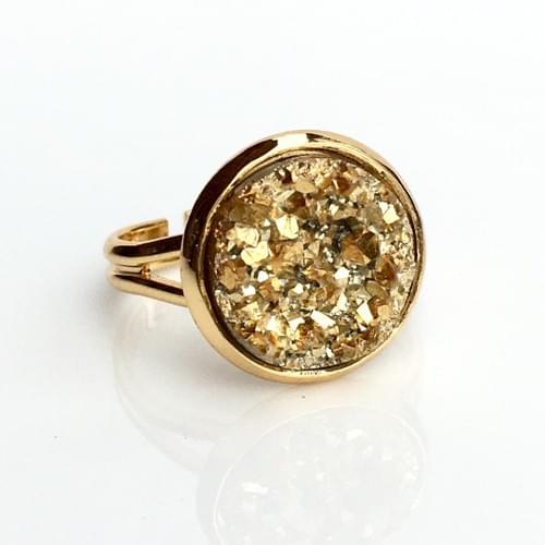Chunky Gold faux druzy gold ring