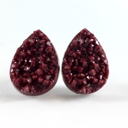 Maroon faux druzy teardrop post earrings