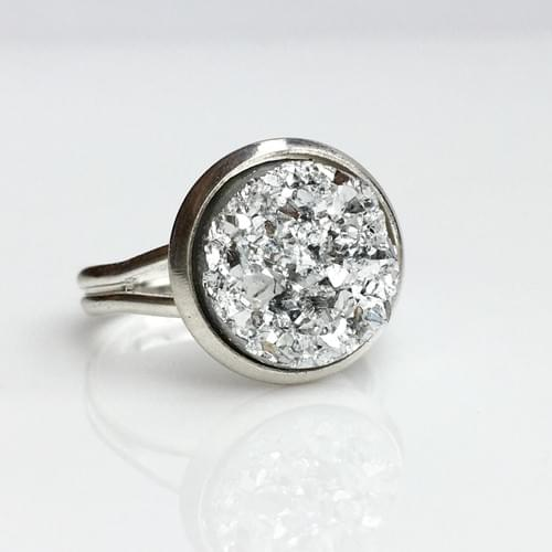 Metallic silver faux druzy silver ring