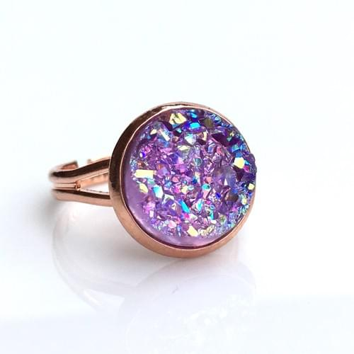 Lavender Iridescent faux druzy rose gold ring