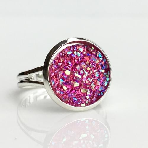 Flat sparkly hot pink silver ring