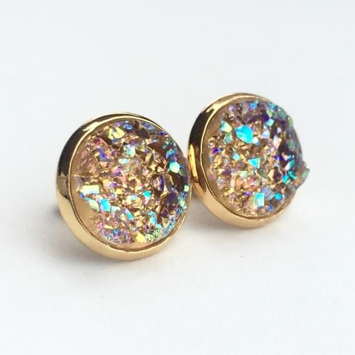 Iridescent peach faux druzy gold earrings