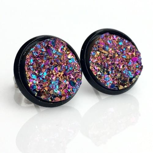 Magenta Copper Rainbow faux druzy black earrings