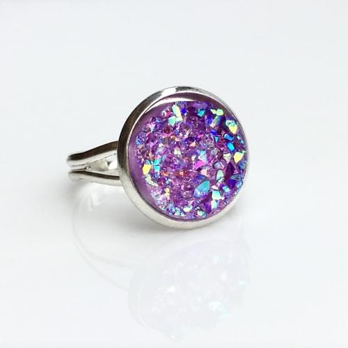 Iridescent Lavender faux druzy silver ring