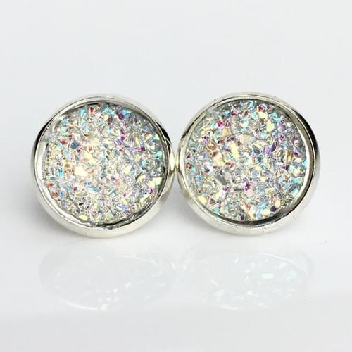 Flat sparkly clear silver earrings