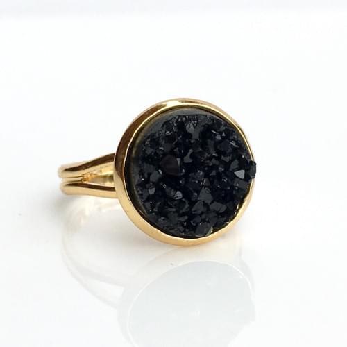 Chunky Black faux druzy gold ring