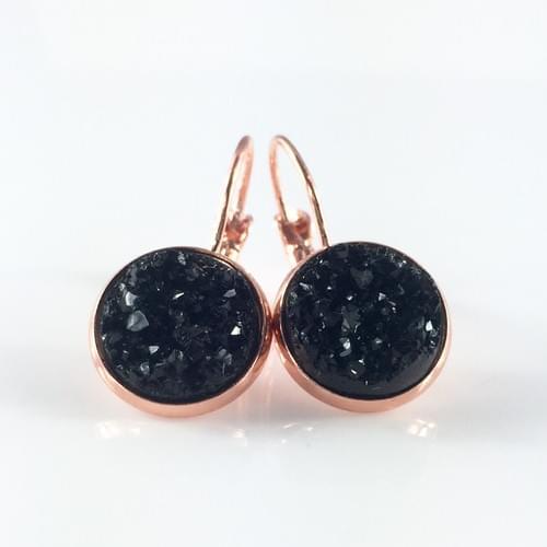 Black Faux Druzy Rose Gold earrings