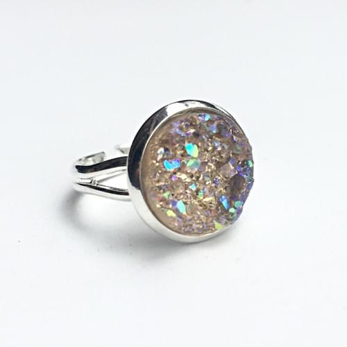 Light Champagne Crystal faux druzy silver ring