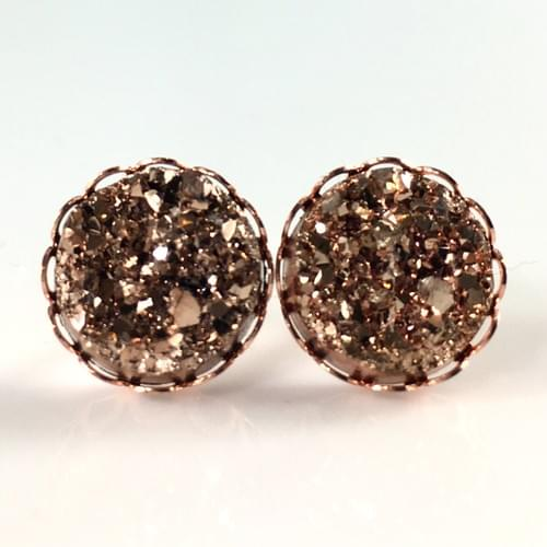 Rose gold faux druzy rose gold lace earrings