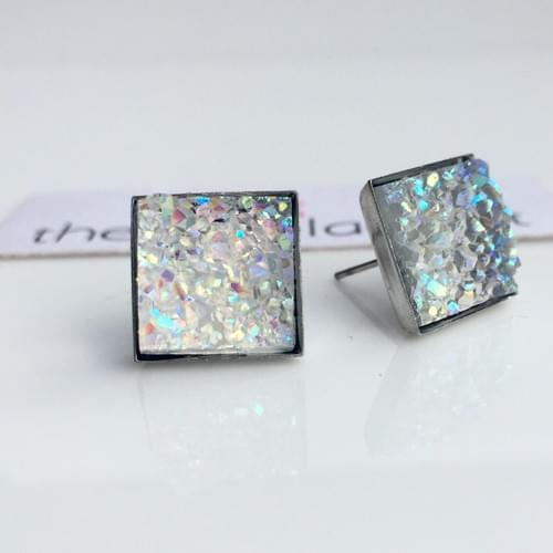 Crystal faux druzy square earrings