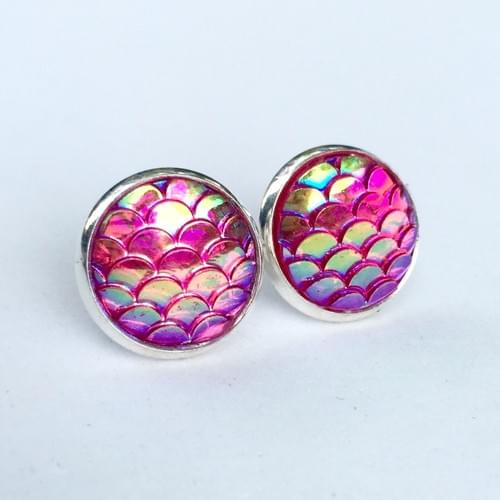 Pink mermaid scale earrings