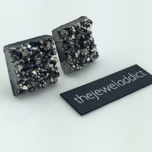 Grey faux druzy square earrings