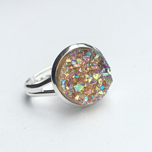 Iridescent Peach faux druzy silver ring