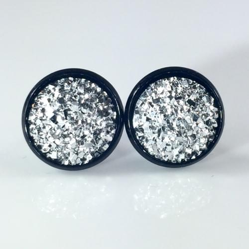 Flat rocky silver faux druzy black earrings